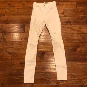 Topshop white destroyed denim highrise skinny jean